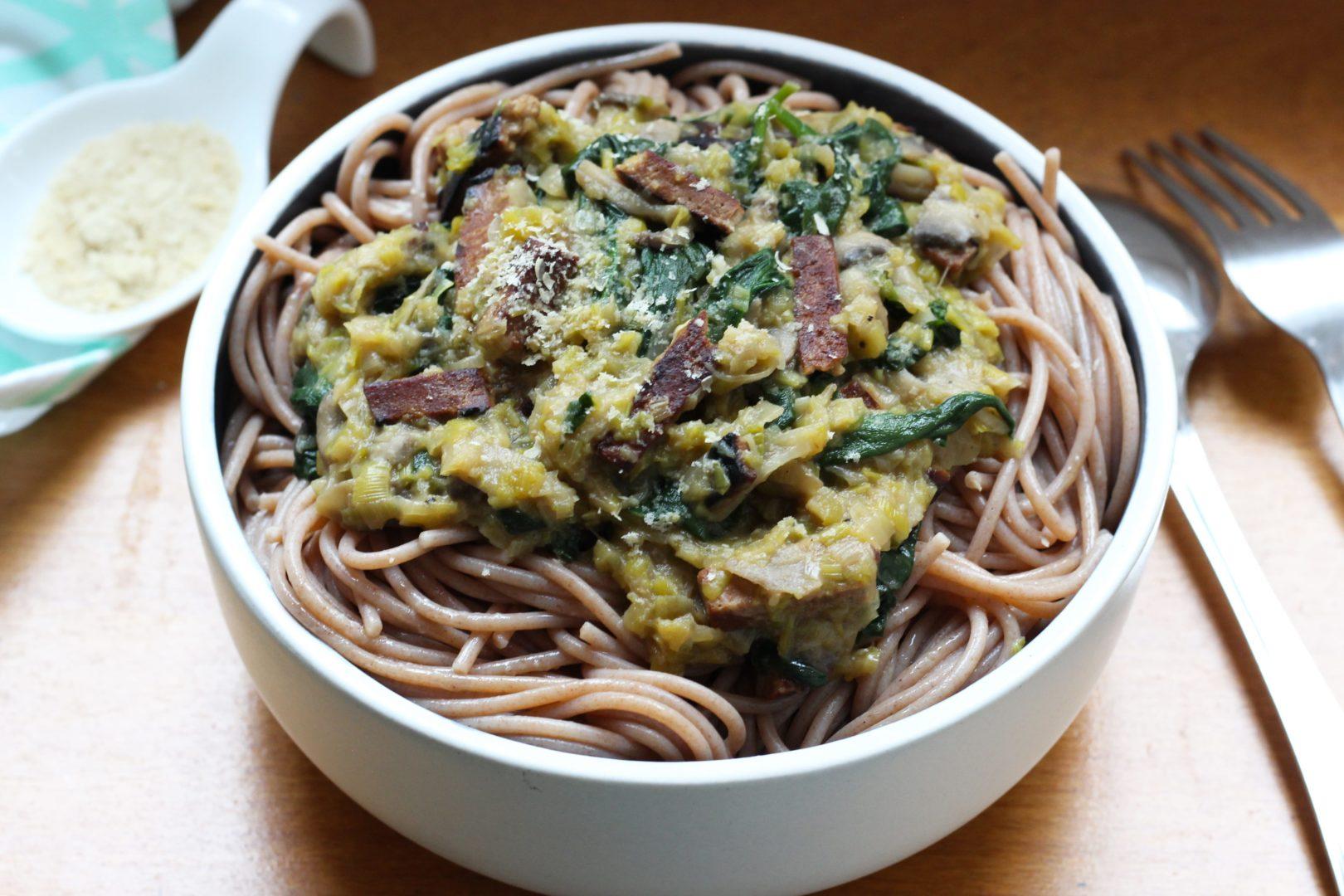 fondue-de-poireaux-et-spaghetti