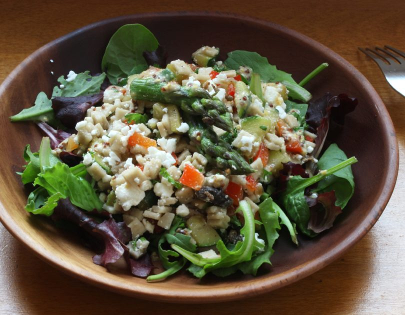 Salade de crozets aux asperges, courgettes et feta