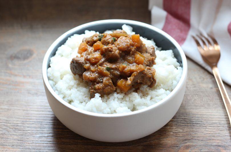 Emincé de porc à la sauce miso et courge butternut