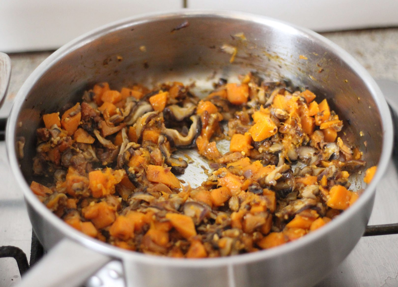Pâtes avoines au potimarron et champignons shiitake