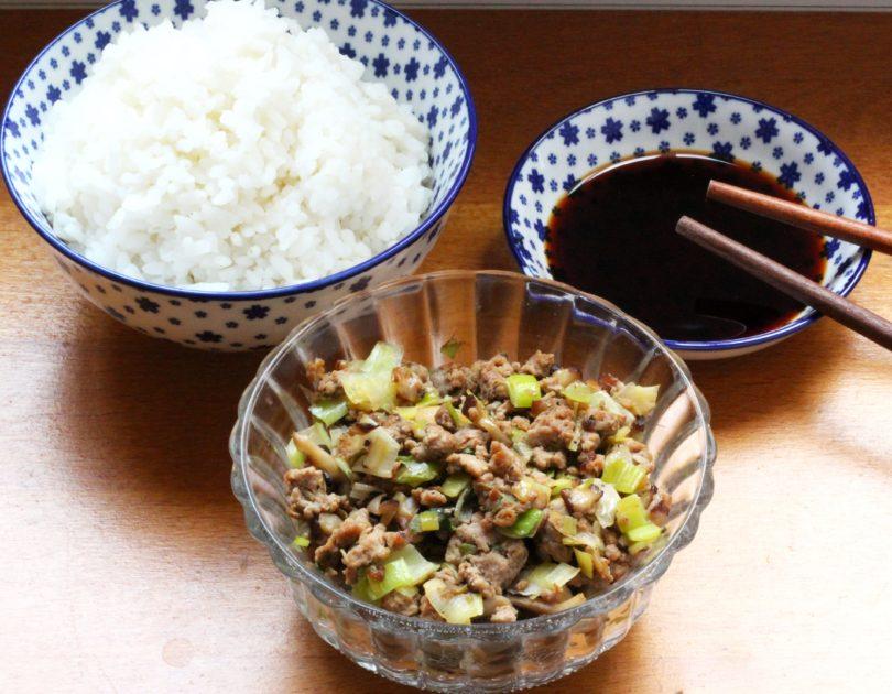 Sauté de porc haché aux poireaux et champignons shiitake