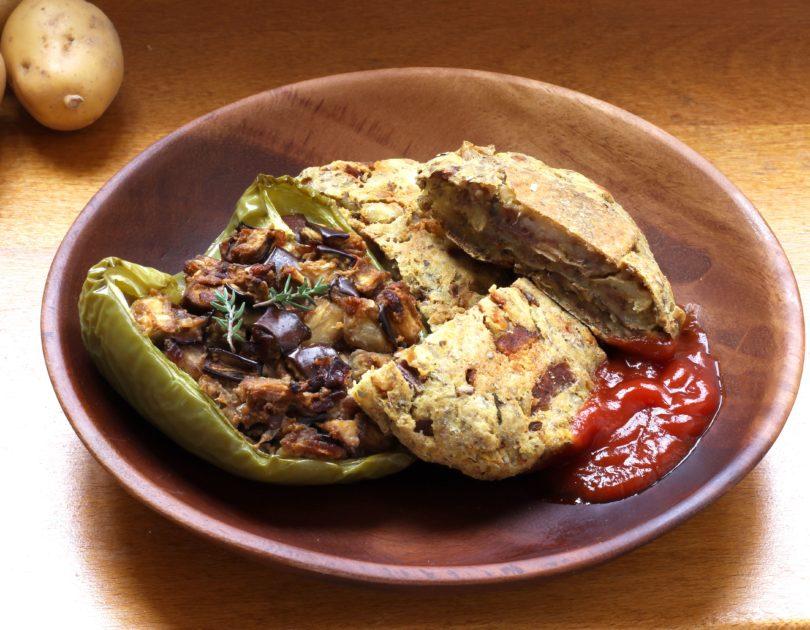Galettes de pommes de terre au curry et poivrons farcis